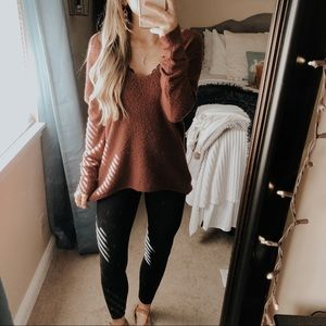 Red Teddy Bear Loose V-Neck Sweater